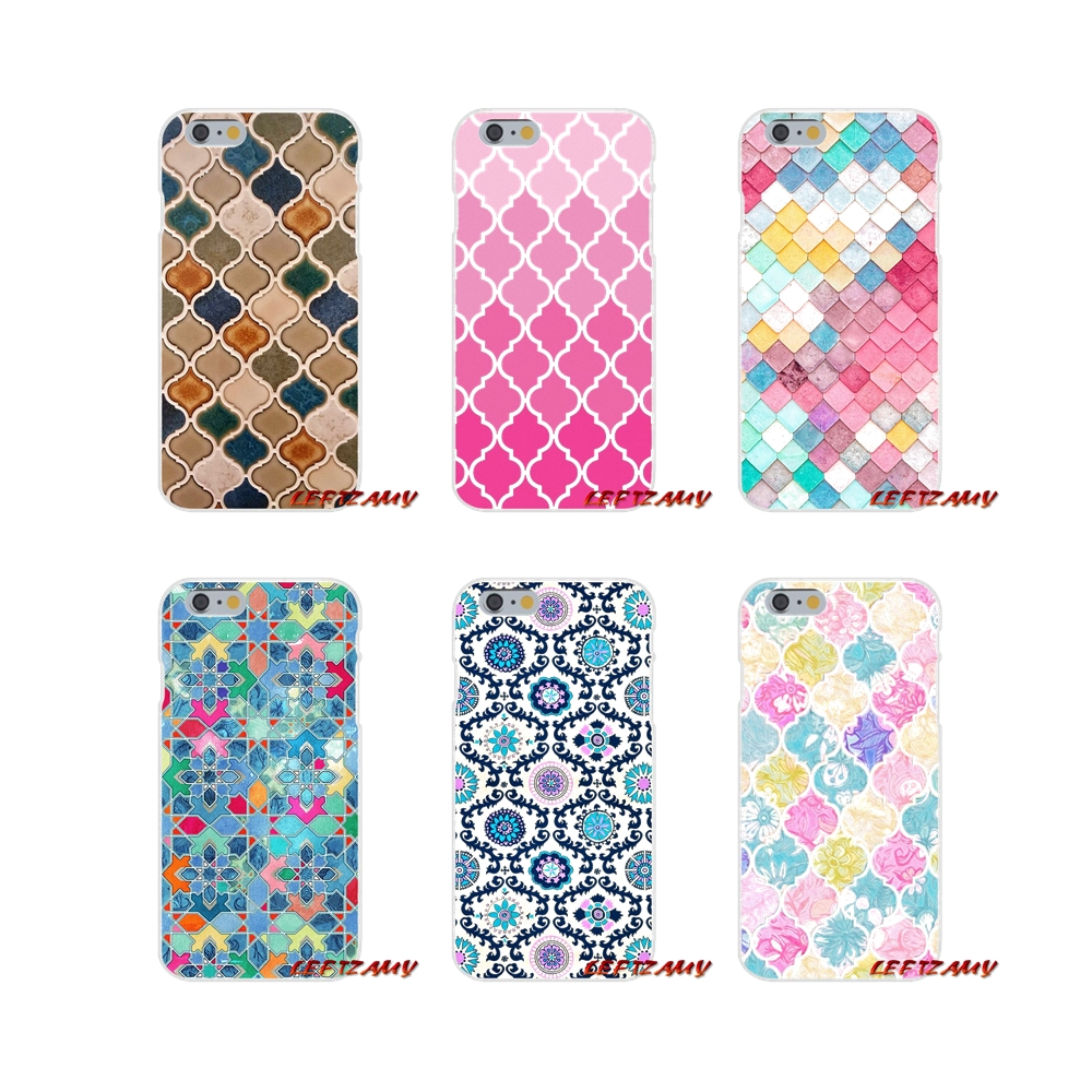 Us 0 99 Pretty Pastel Moroccan Tile Mosaic Accessories Phone Shell Covers For Iphone X Xr Xs Max 4 4s 5 5s 5c Se 6 6s 7 8 Plus In Half Wrapped Cases