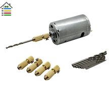 DC 12-24V Electric Motor PCB Drill Press Drilling Set 10PC 0.5-3.0mm Twist Bits and 5pcs 3.17mm Shaft Chuck Collets Woodworking