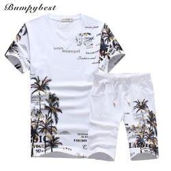 2018 новые модные летние шорты комплекты Для мужчин Повседневное кокосовый остров костюмы для печати Для мужчин китайский Стиль костюм
