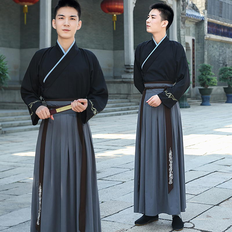 Men Hanfu Black Tops Grey Skirt Chinese Dance Costumes Male Traditional Tang Dynasty Folk Chinese Clothing