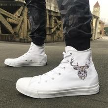 Вэнь высокие белые туфли для взрослых дизайн Этническая голова быка Мужские Женские парусиновые кроссовки для мальчиков и девочек Скейтборд обувь для подарка на день рождения