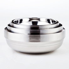 High Quality Diameter 14cm-20cm Safe Double Wall Thermal Insulation Stainless Steel Bowl Soup Bowls Dinner Salad Bowl To Family