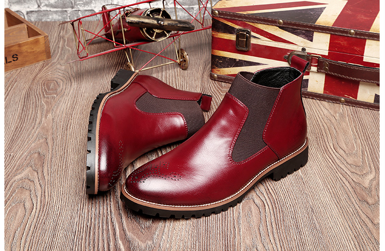 Luxury Genuine Leather Martin Boots British Carved Brogue Ankle Boots Fashion Men Boots Men's Slip-on Motorcycle Shoes Plus Size 20