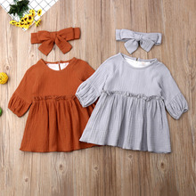 Kids Baby Girls Summer Casual Clothes Sleeveless Cotton & Linen Solid  with Knot at Shoulder Infant Dresses
