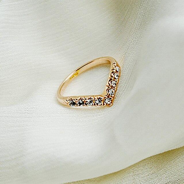 Gold Silver Ring Heart V Shape Rhinestone Cubic Zirconia Crystal