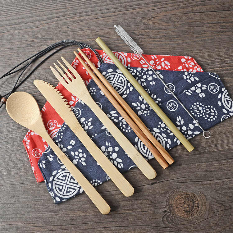 Portable Easy Carrying Bamboo Dinnerware Set Bamboo Straw Cutlery Set With Bag and Brush
