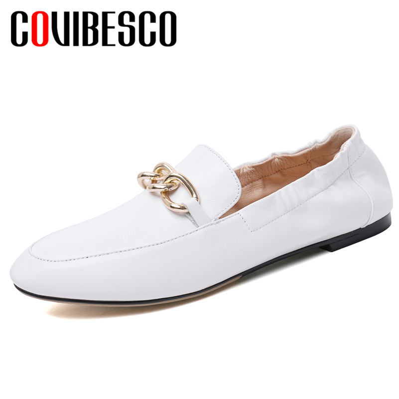 COVIBESCO Genuine Leather Round Toe Square Heels Shoes Woman New Fashion Elegant Spring Autumn Party Office