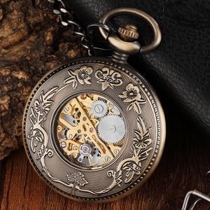 Image 3 - ساعة الجيب الميكانيكية ذات الأرقام المنحوتة ذات الدائرة الخشبية العتيقة للرجال ساعة يد ميكانيكية برونزية فريدة من نوعها بسلسلة
