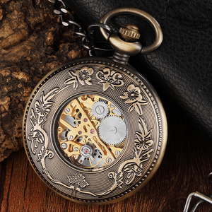 Image 3 - Vintage Wood Circle Carved Number Dial Mechanical Pocket Watch Men Unique Hollow Steampunk Bronze Mechanical Clock Watches Chain