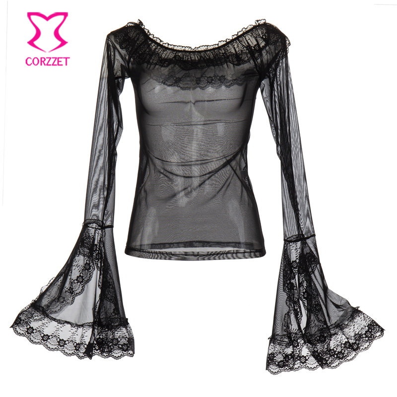 Black Transparent Tulle&Lace Ruffle Off Shoulder Flare Sleeve Sexy Blouse Victorian Steampunk Clothing   Corset   Gothic Accessories
