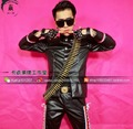 2016 New Men Fashionable stitching leather clothes jacket suits, Nightclubs male singer DJ DS guests stage costumes