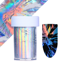 Halloween Fireworks Nail Foil Holographic Rainbow Laser Irregular Wave Ripple Net Manicure Nail Art Transfer Sticker Nail Polish