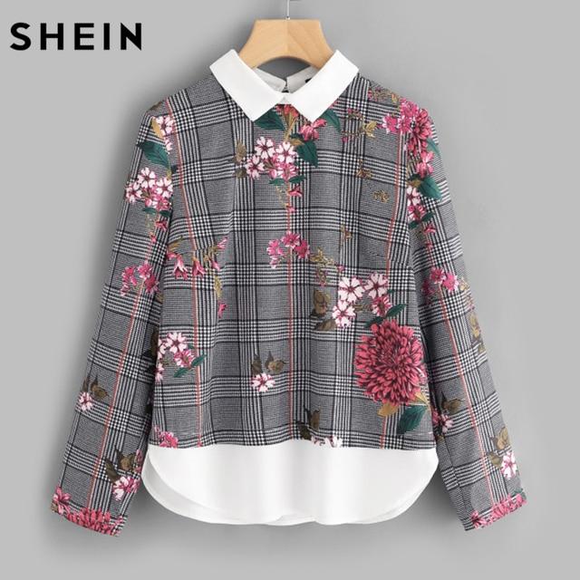 Шеин принтом изогнутые подол 2 в 1 блузка Осень Для женщин Топы корректирующие многоцветный контрастным воротником с длинным рукавом Цветочный плед блузка