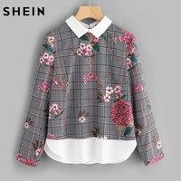 SHEIN de Impresión Mixta Curvo Dobladillo 2 En 1 Blusa Mujeres del Otoño Tops Multicolor Contraste Cuello de Manga Larga Floral de la Tela Escocesa de La Blusa