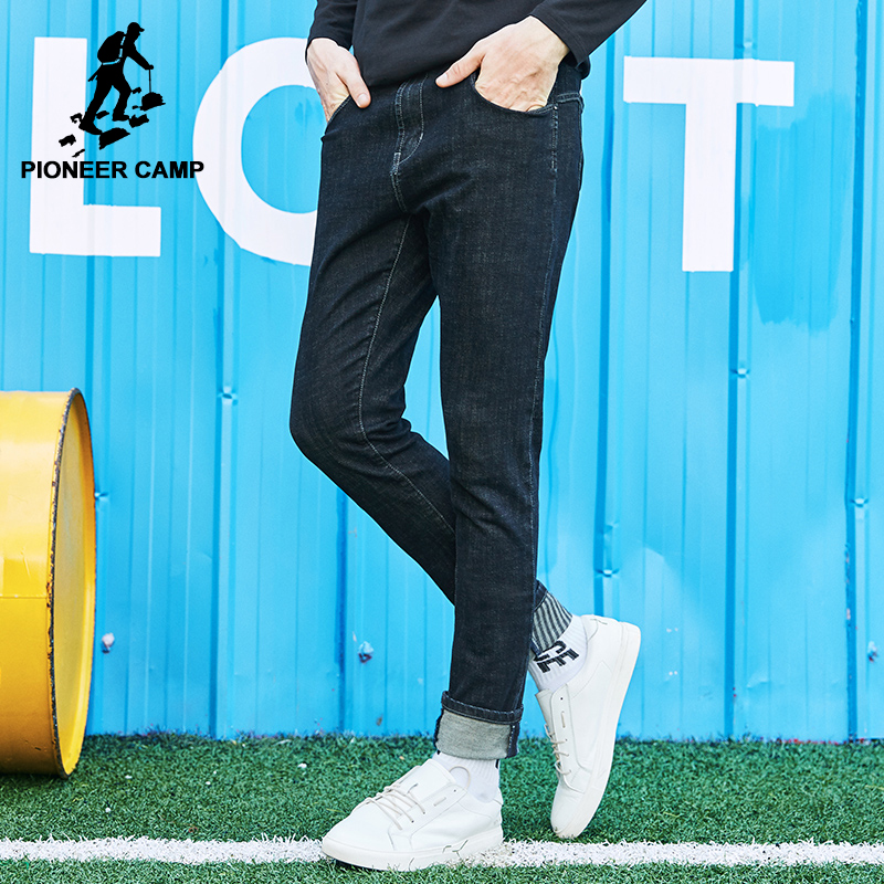 Pioneer Camp new autumn black jeans men brand-clothing straight denim pants male top quality small stretch trousers ANZ707026