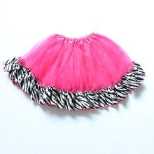 Для девочек 3 слоя ярко-розовый цвет балетная юбка с полосатый атлас отделка