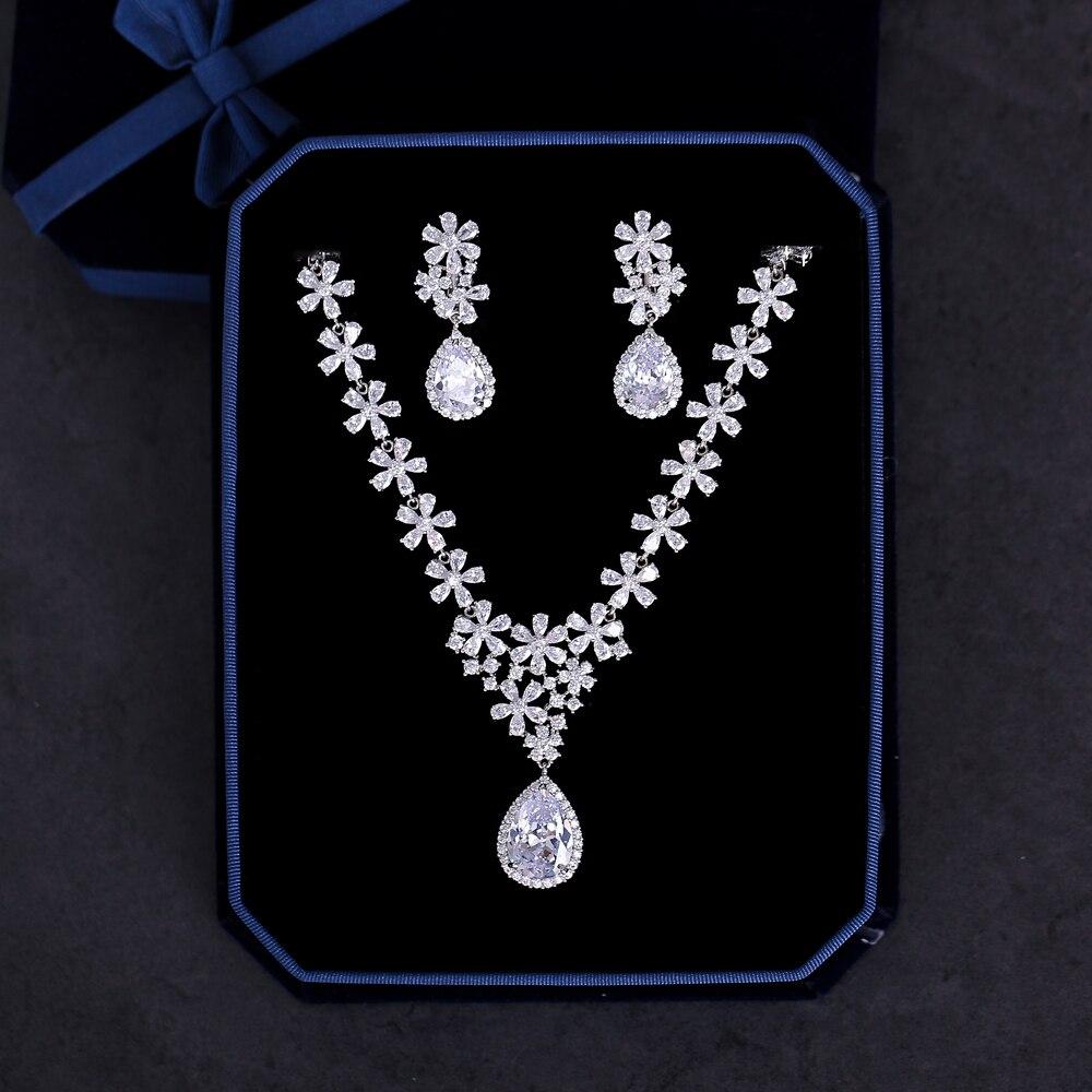 Ensemble de Bijoux de fleurs en Zircon cubique taille poire collier en pierre Zircon complet pendentif boucles d'oreilles Bijoux femmes Bijoux pour mariage