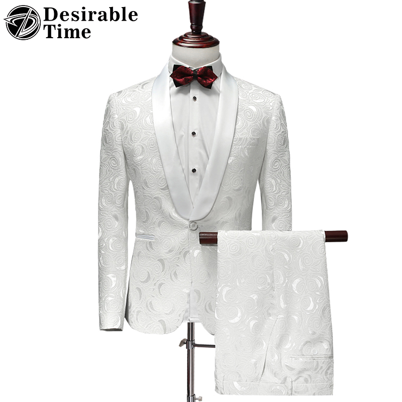 White Floral Suit Men Slim Fit 2 Piece Wedding Dress Suits for Men Party Prom Tuxedo Costume Homme Mens Suits with Pants DT321 2 tuxedo