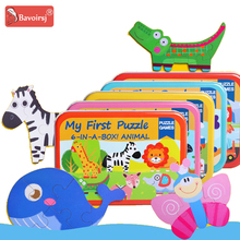 Купить с кэшбэком Metal Box Zoo Cartoon Wooden Puzzle Baby Toys Early Education Montessori Learning Puzzles Toy for Boys T0288