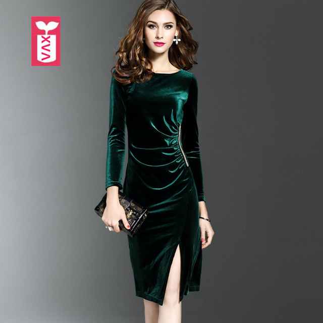 High-end Original Formal Office Party Womens Pleuche Pleated Knee-Length  Dresses Femme Long