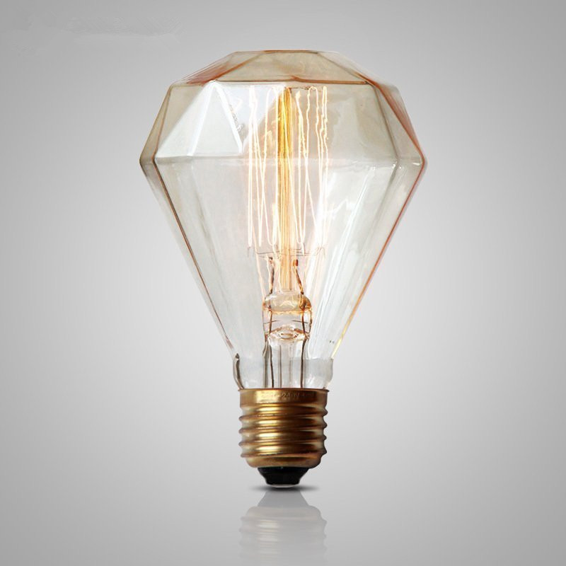 Antique Retro Vintage Bulb Edison Light Bulb G95 Diamond E27 40W 220V Incandescent Filament Light Bulb Tungsten carbon Lamp lumiparty antique light bulb classical edison bulb e27 8w filament tubular nostalgic filament incandescent home lamp