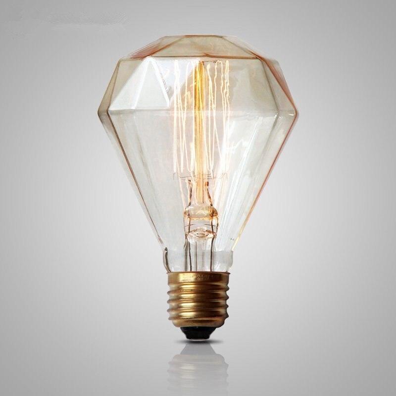 Antique Retro Vintage Diamond Edison Light Bulb G95 E27 40W 220V Incandescent Filament Light Bulbs Tungsten carbon Lamps