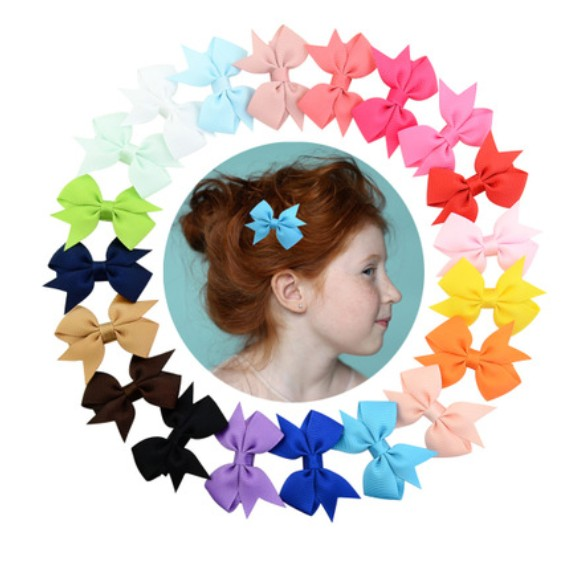 20 pcs/ lot Hot Sale 3 Inch Boutique Hair Bow Ribbon Hair Bow Tie Clips Kids Hairpins Children Multicolor Hair Accessories