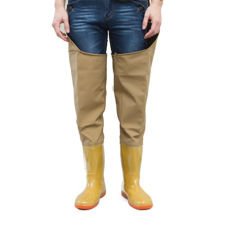 High tube Over Knee Waterproof Fishing Waders Leg pants Shoes Dichotomanthes End Rain <font><b>Boots</b></font> Adjust Height Strap Water Overalls