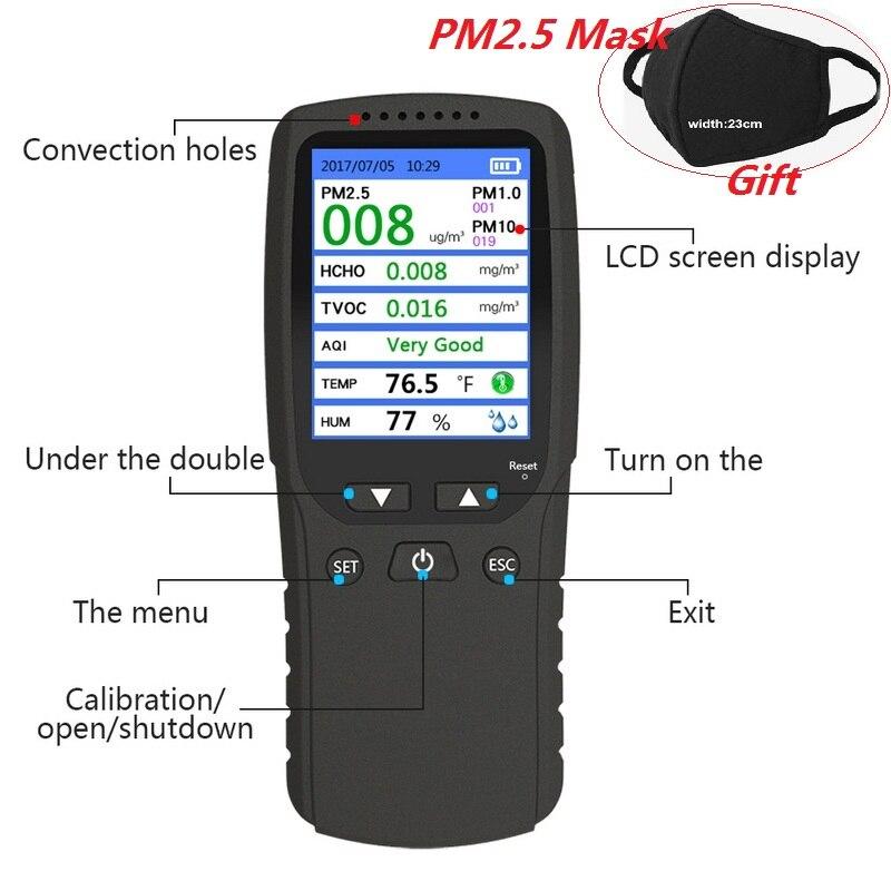 Nouveau 8 dans 1 PM1.0 PM2.5 PM10 Moniteur TCOV HCHO Formaldehyd Détecteur de Température Hygromètre Air Qualité Moniteur Analyseur De Gaz