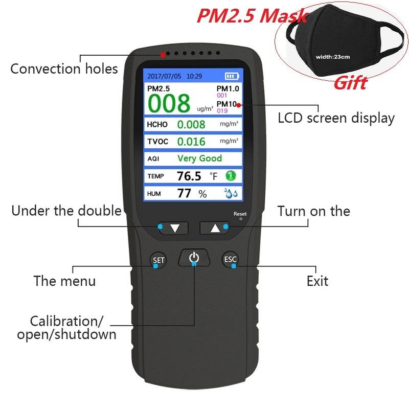 Nova 8 em 1 PM1.0 PM2.5 PM10 Formaldehyd HCHO TVOC Detector de Temperatura Medidor de Umidade Do Monitor Monitor de Analisador De Gás da Qualidade do Ar