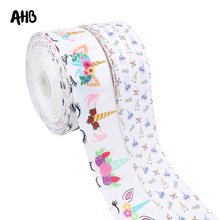 AHB 5Y/lot Grosgrain Ribbon 75MM Unicorn Printed For Bow Christmas New Year Gifts Packing Wrapping Craft