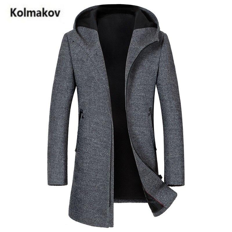 KOLMAKOV 2017 new winter high quality Casual turn-down collar mens woolen coat,men Hooded long trench coat, full size M-3xl.