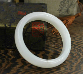 56--61mm Chinese Xin jiang 100% Pure Hetian Jade Hand-carved Bracelet Bangle