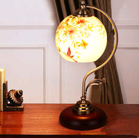 Chinese Style Classic Flower And Bird Pattern Glass Table Lamps Exquisite Warm Charming Dimming Lamp For