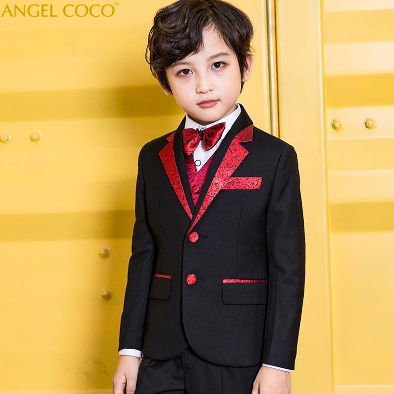 5 Piece Suit Trousers Vest Shirt Bow Tie Boys Suits For Weddings Costume Garcon Vestiti Bambina Cerimonia Communion Boys Prom