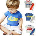 2017 Summer Boys Clothes Sets Kids Cartoon  Auto Steamship Bus Short-Sleeve T-Shirt + Striped Pant Shorts  Boys Clothing Outfit