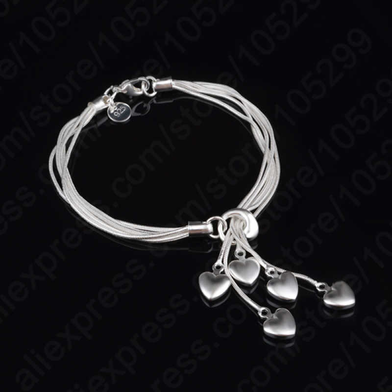 Charming lovely 925 Sterling Silver Woman Bracelets Jewelry With Heart Shape Components Pendant For Wedding Proposal Party
