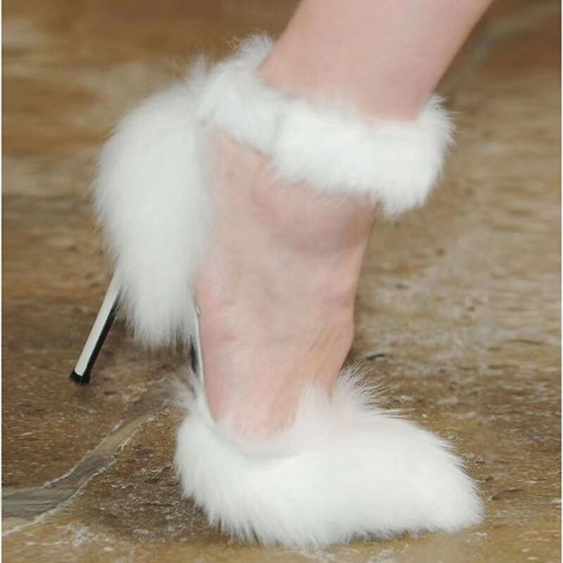 2019 nuevas bombas de piel de tacón alto sandalias de gladiador mujeres sexys puntiagudos sólidos zapatos de señora modelo de moda Zapatos de fiesta de pasarela - 2