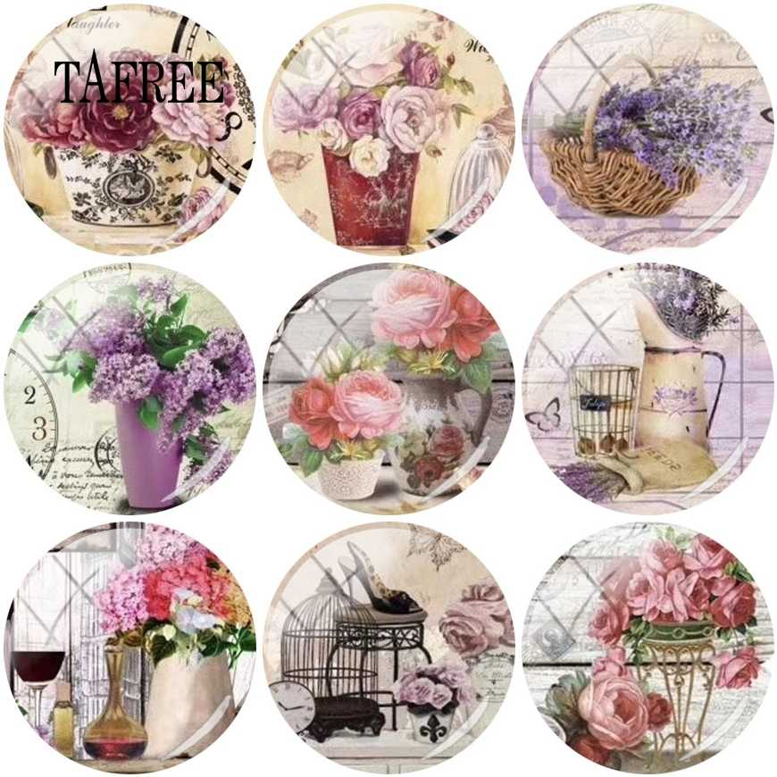 TAFREE Charm Fashion Flower patterns Glass Cabochon 12/15/16/18/20mm Round Flatback Dome Jewelry Making Findings Component