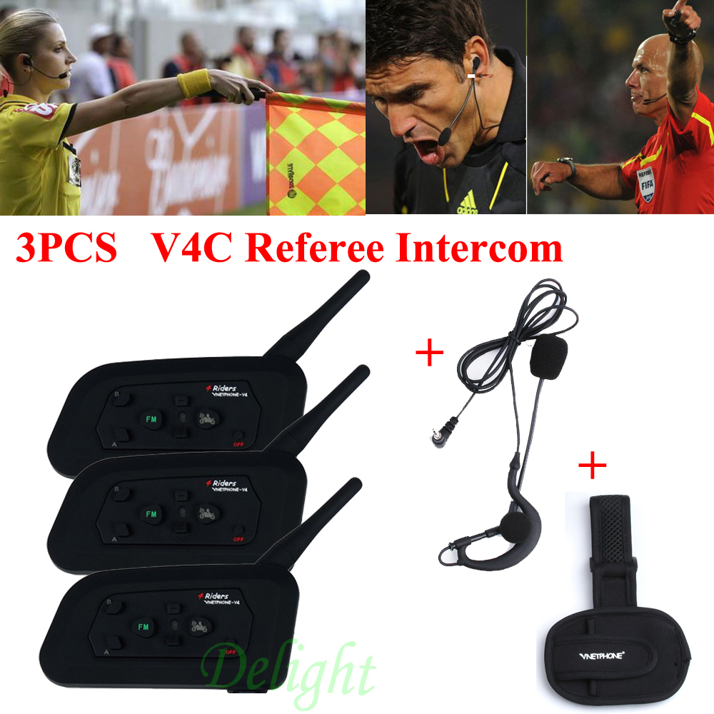 3Pcs Vnetphone V4C 1200M Waterproof Motorcycle Interphone Football Referee Headset Full Duplex Bluetooth Referee Intercom цена