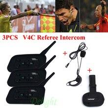 3Pcs Vnetphone V4C 1200M Waterproof Motorcycle Interphone Football Referee Headset Full Duplex Bluetooth Referee Intercom