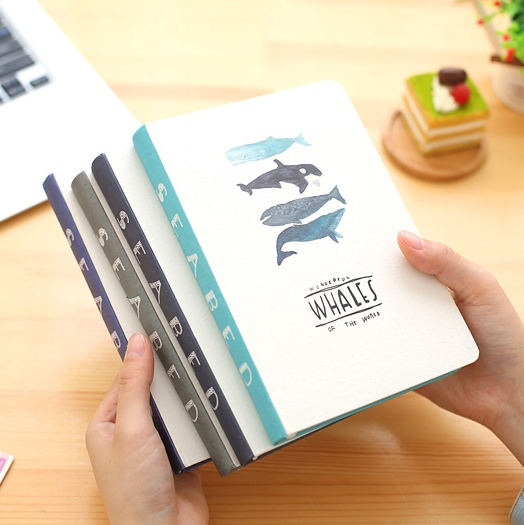 KIMCOOL 32K Whale Hardcover Notebook Color Pages Notepad Cute Animal Diary Book Thick 1PCS