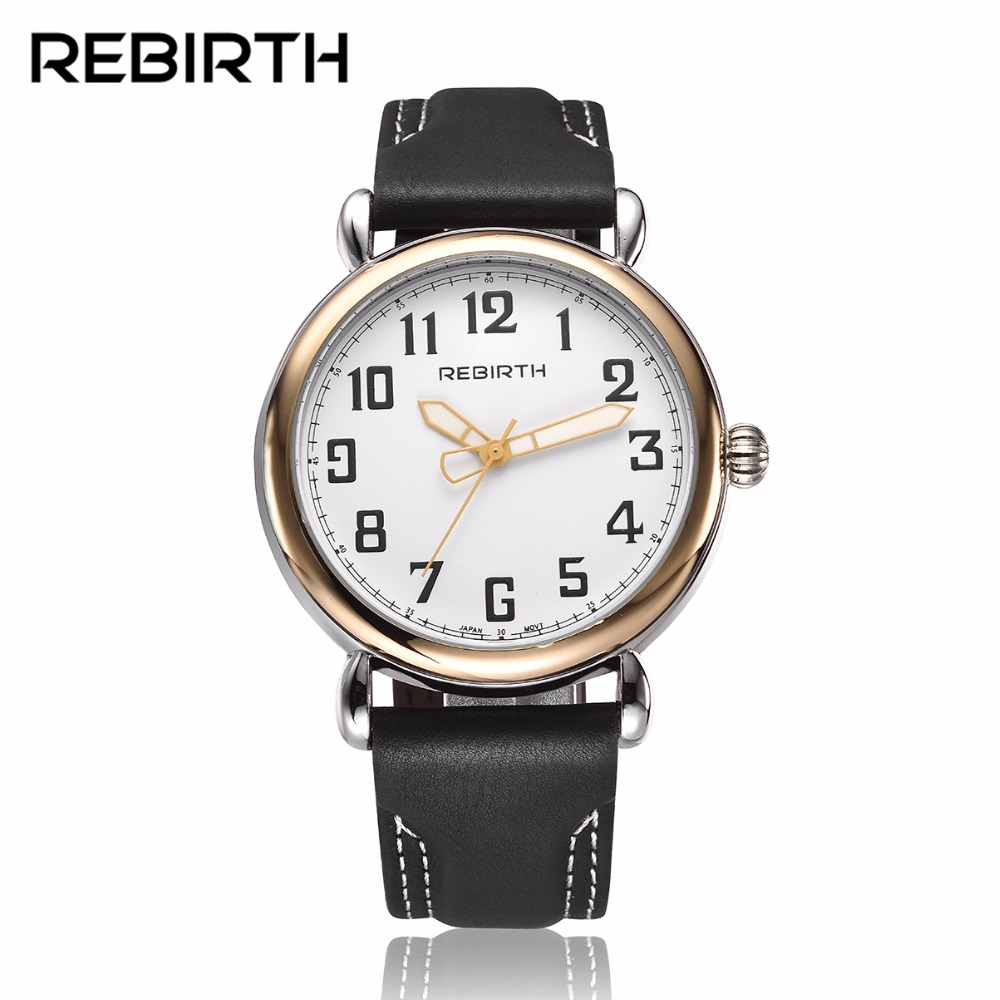 2017 Casual Men Watches Waterproof REBIRTH Fashion Brand Quartz Watches Genuine Leather Male Clock with Japan Movt reloj hombre