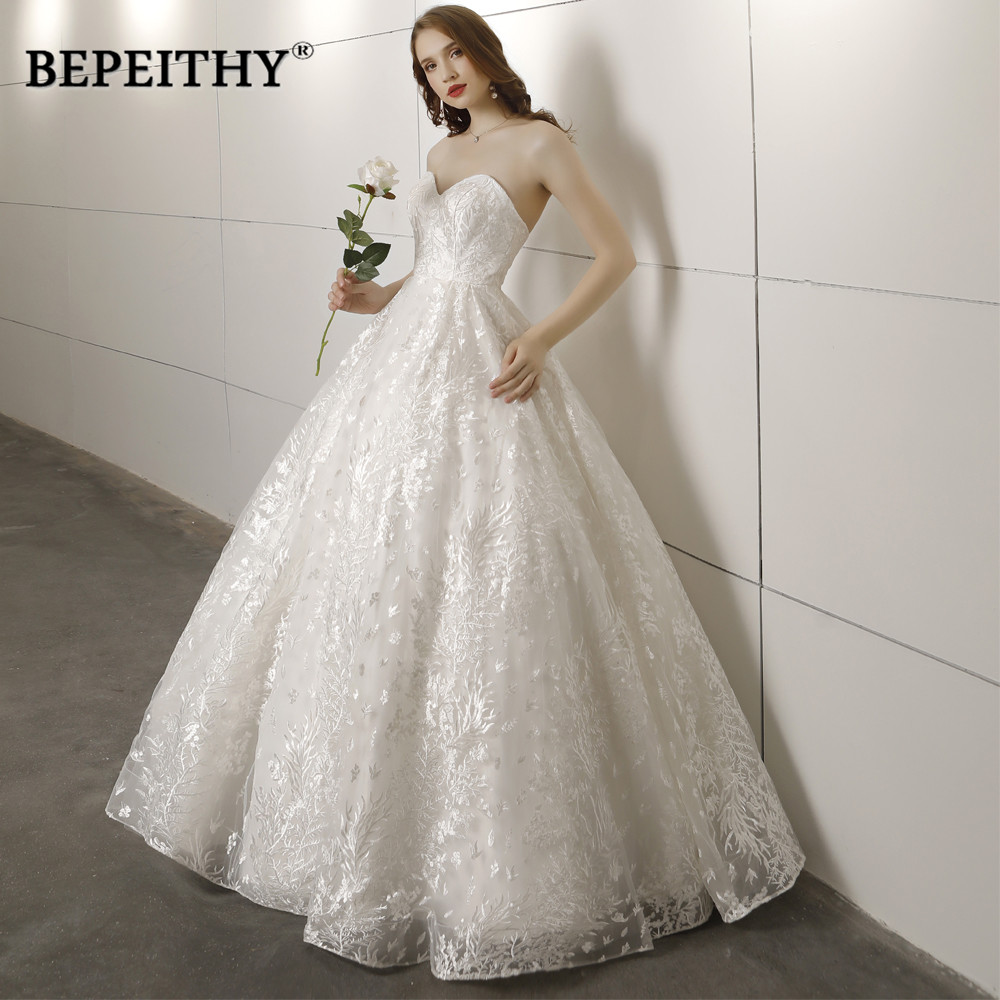 New Arrival Sweetheart Ball Gown Wedding Dress Vestido De Novia Lace Vintage Simple Bridal Dresses 2019 Hot Sale
