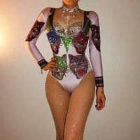 Ds Show Clothes Rhinestone Bodysuit Sexy Nightclub Party Jumpsuit Leotard Female Singer Stage Dance Wear Performance Clothing