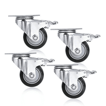 4 pcs Double ball bearing PVC caster wheel,Industrial heavy duty swivel casterDouble ball bearing universal casters with brake cy 18a 18mm bearing smart car casters small maverick eye round steel ball omni wheel universal wheel caster wheel 1pcs
