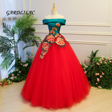 2019 New Off The Shoulder Red Quinceanera Dresses Tulle With Appliques Masquerade Ball Gown Sweet 16 Dress Vestidos De 15 Anos