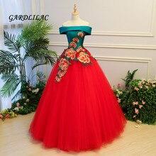 2019 Nova Off The Shoulder Red Quinceanera Vestidos de Tule Com Apliques Masquerade vestido de Baile Doce 16 Vestido Vestidos De 15 anos