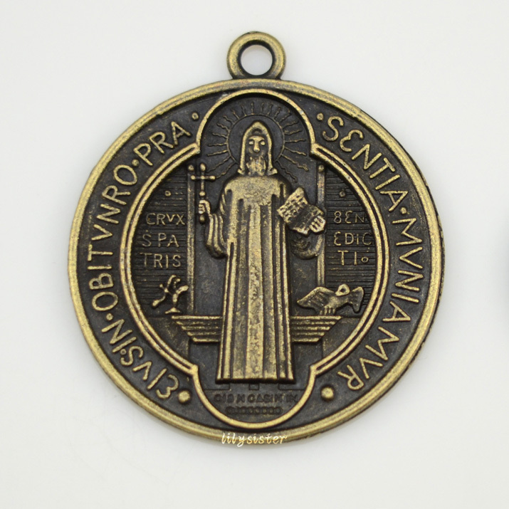 d9a41a567c1 Catholic Religious Gifts Evil Exorcism Protection St. Benedict St holy Medal  Charm Big Pendant Charms bronze color free shipping-in Charms from Jewelry  & ...