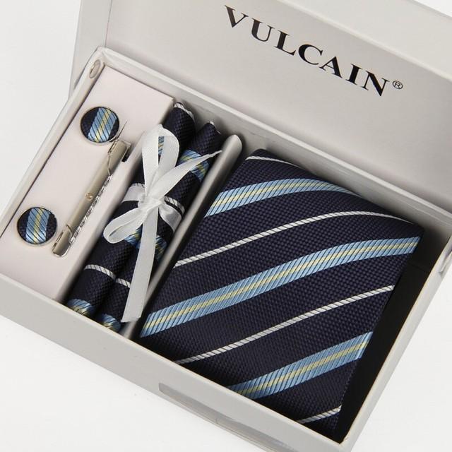 SHENNAIWEI corbata azul marino a rayas de los hombres pañuelo corbatas y gemelos clip de corbata con caja de regalo 5 sets señores